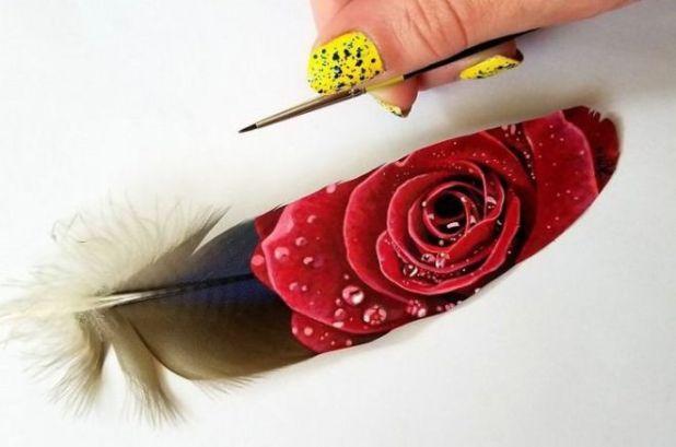 Krystle Missildine's Beautiful Feather Painting Art
