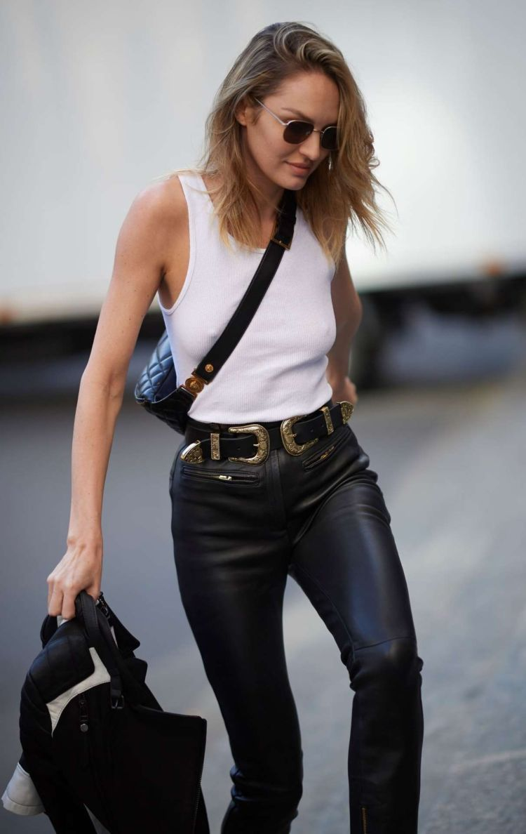 Candice Swanepoel Photographed Outside The Versace Show At Milan Fashion Week