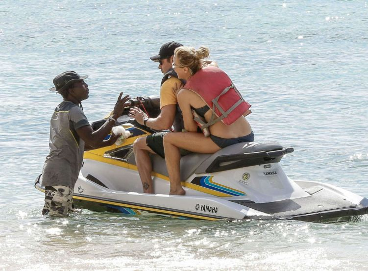 Tea Leoni Takes A Jet Skii Ride In Barbados