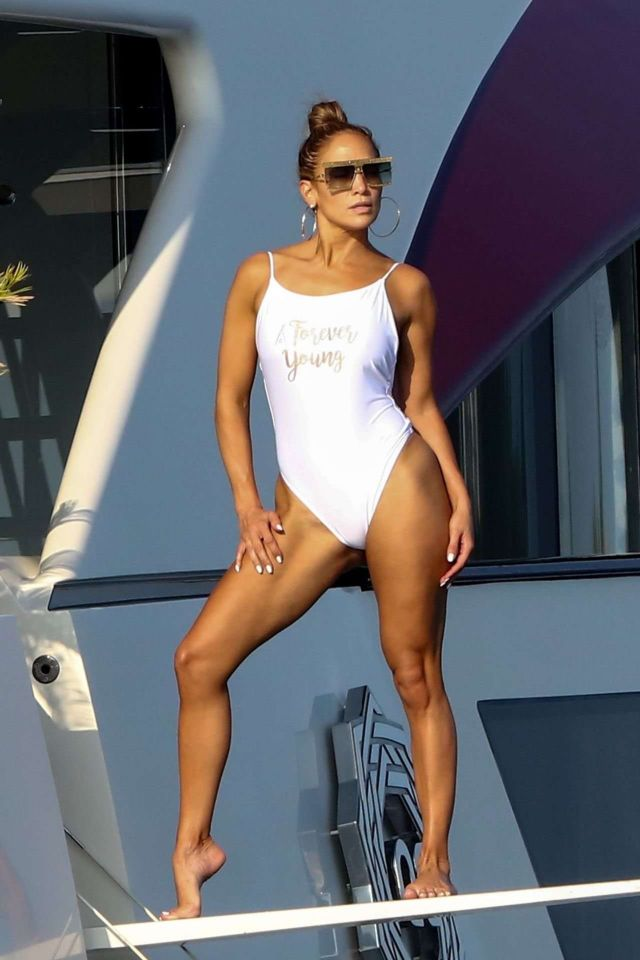 Jennifer Lopez Poses In White Swimsuit On A Yacht In St Tropez