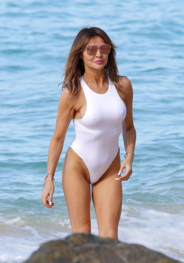 Lizzie Cundy Spotted In A White Swimsuit At The Beach In Barbados