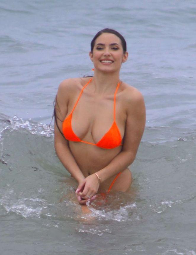 Tao Wickrath In An Orange Bikini At Miami Beach