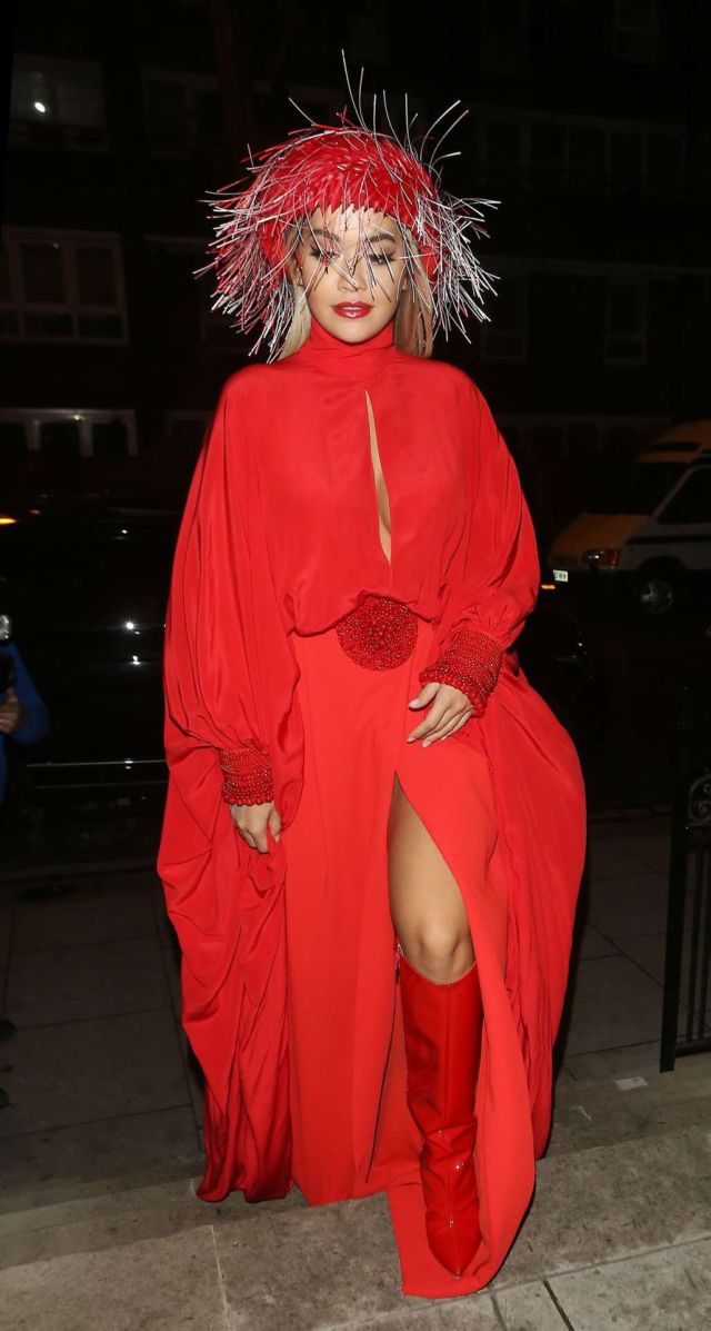 Rita Ora Leggy Dressed Up In Red At The Chiltern Firehouse In London