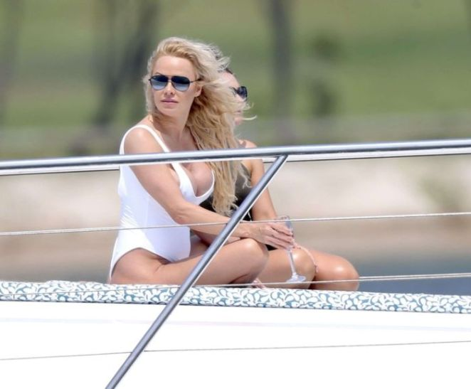 Pamela Anderson Spotted In A White Swimsuit On The Gold Coast