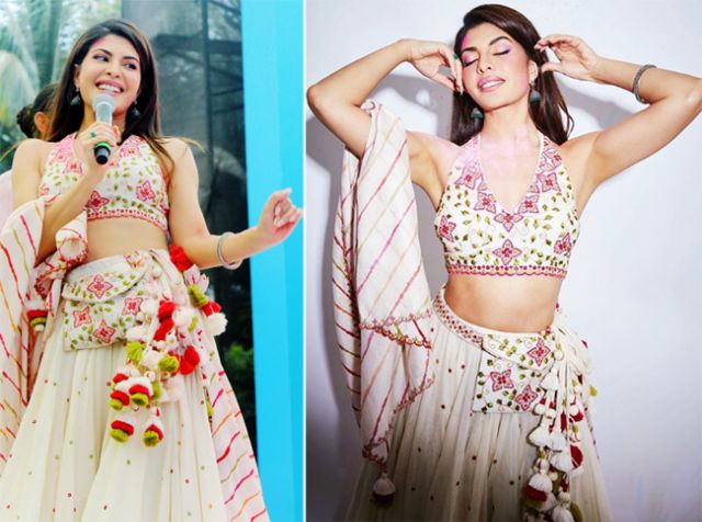Jacqueline Fernandez In A Lehenga With Stunning Belt Bag At A Party