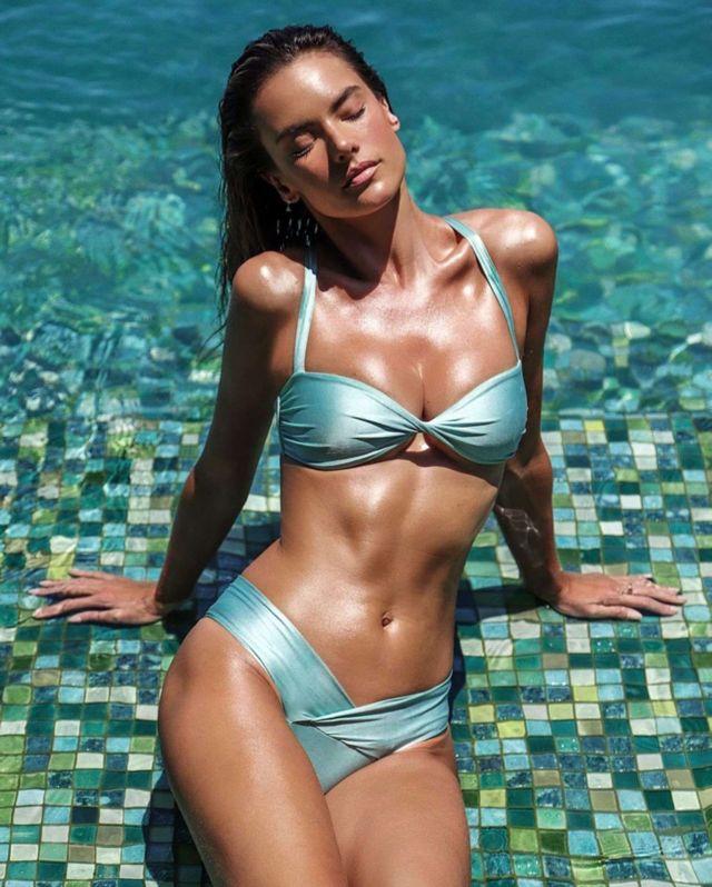 Alessandra Ambrosio With Gisele Coria Campaigning For Her Swimwear Brand