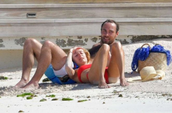 Alizee Thevenet in A Red Bikini At The Beach In St Barts