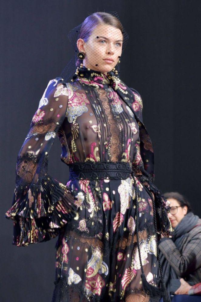 Georgia Fowler Walks For Elie Saab Fashion Show In Paris