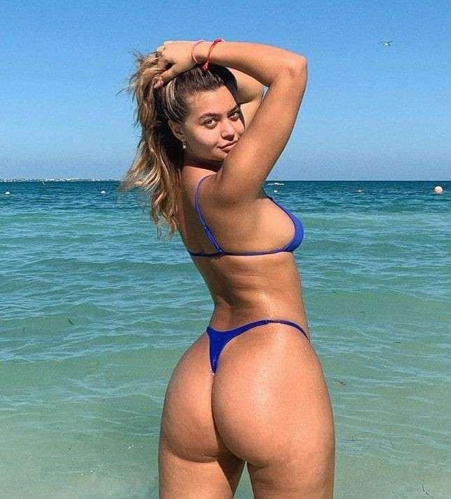 Sofia Jamora Poses In A Blue Bikini At The Beach