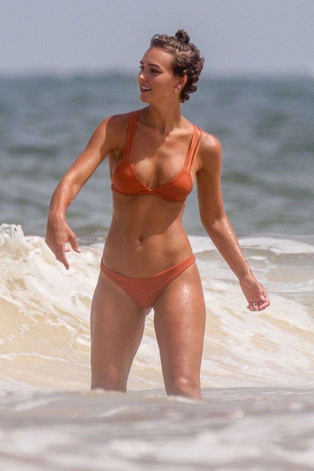 Rachel Cook Hits The Beach In Orange Bikini