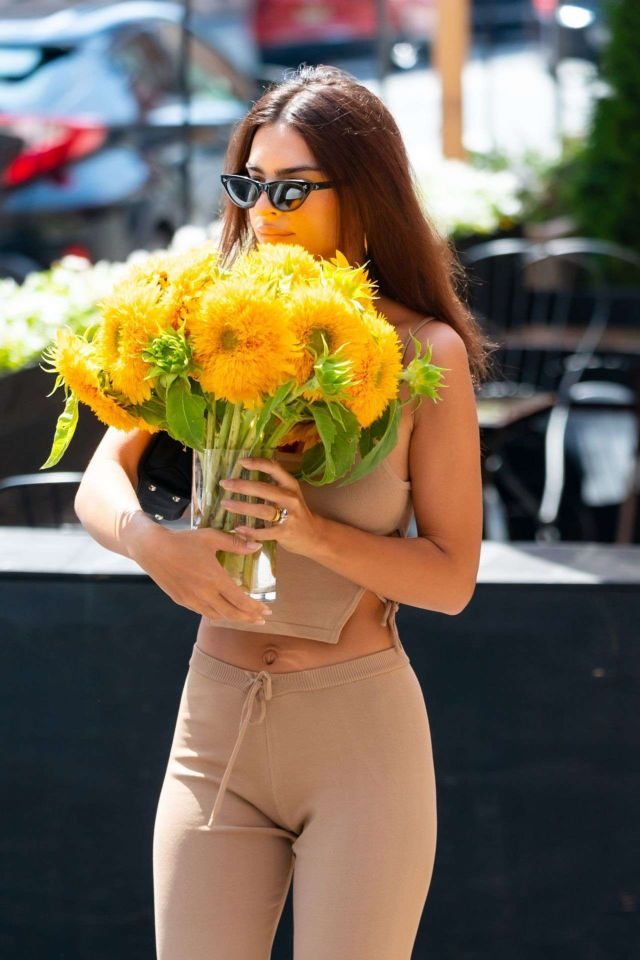 Emily Ratajkowski Looks Beautiful While Carrying A Flowerpot In New York City