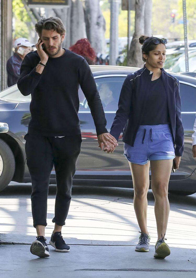 Freida Pinto Out In Shorts In Los Angeles