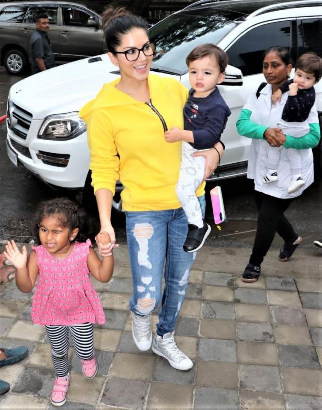 Sunny Leone Spotted Out With Her Adorable Kids