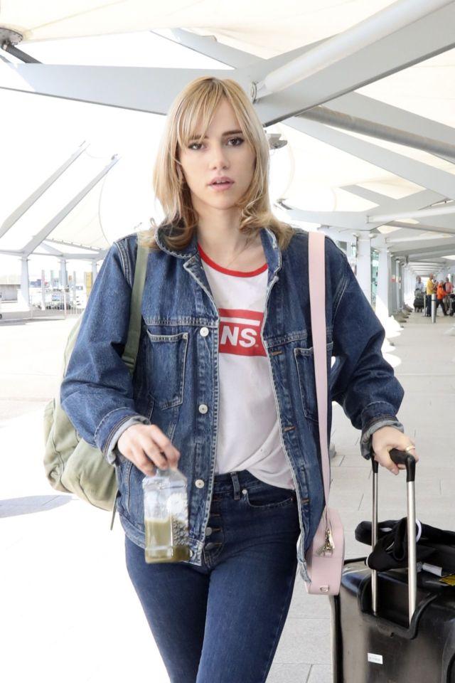 Suki Waterhouse Spotted At Heathrow Airport