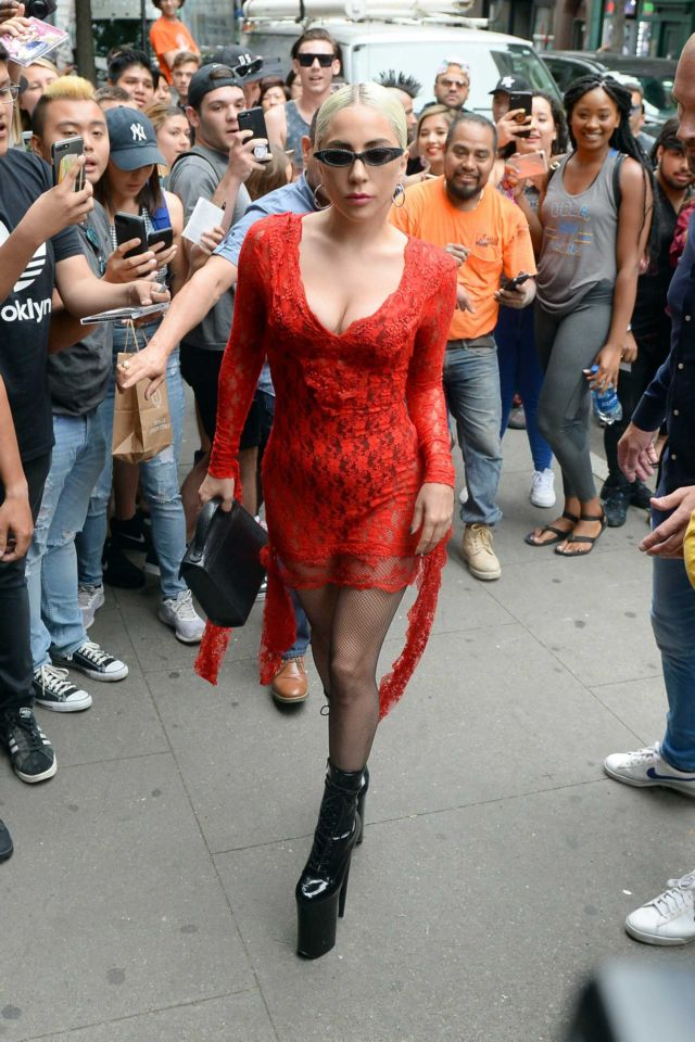 Lady Gaga Arrives At Electric Lady Studios In A Red Dress