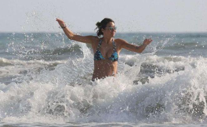 Elisabetta Gregoraci Enjoys Bikini Football At Twiga Beach Club In Forte Dei Marmi