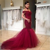 Prom DressLace Prom Dress,mermaid Prom Dresses,Burgundy ...