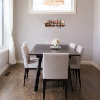 this dining space in neutral colors shows how our copper accented holy stix can create a metallic pop of color