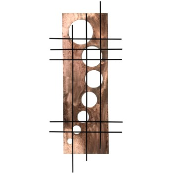 we distressed the coper finish on this holy still wall sculpture featuring a bold black grid over a crop circle inspired circles pattern
