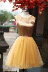 Images Gold Short Formal Dress On Mannequin