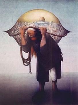 De eerste versie van Jamel al-Mahamel uit 1973 door Sliman Mansour