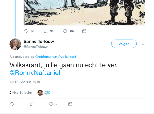 Reactie Sanne Terlouw op cartoon Collignon