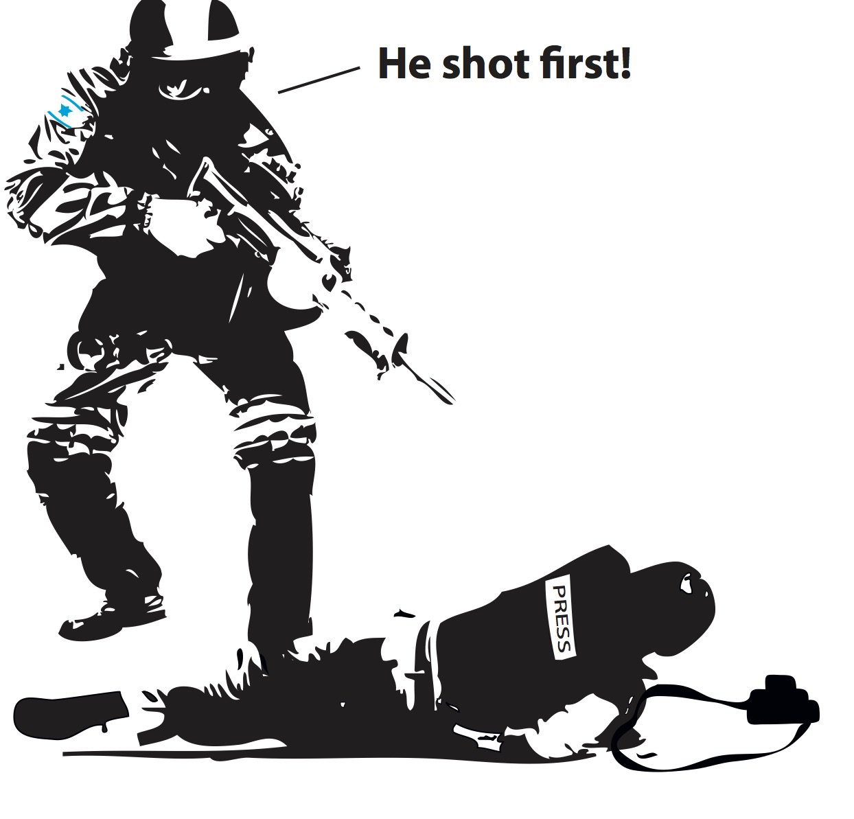 Cartoon van Khalid al-Baih - Who shot first - 7 april 2018