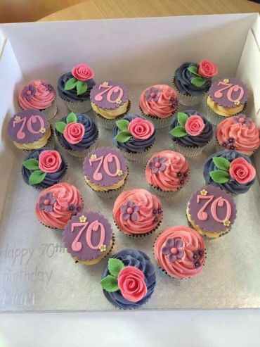 70th birthday flower cupcakes heart