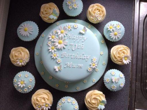 Flower 70th birthday cakes cupcakes