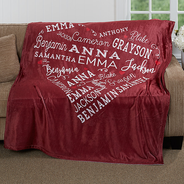 Personalized Close to Her Heart Blanket - 70th Birthday Gift Idea