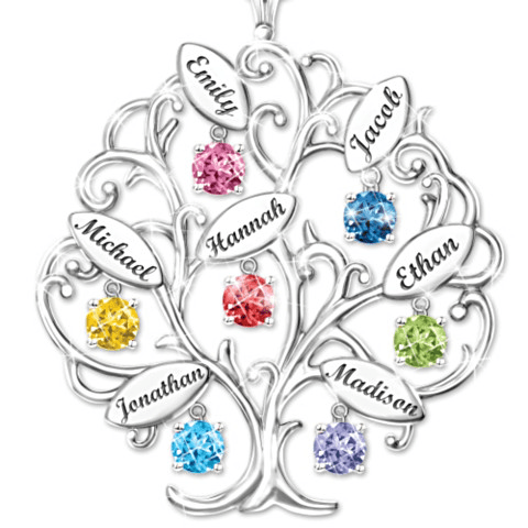 Personalized Family Tree Necklace - Gift for Grandma