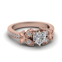 Rose Gold Engagement Rings: Heart Shaped Rose Gold