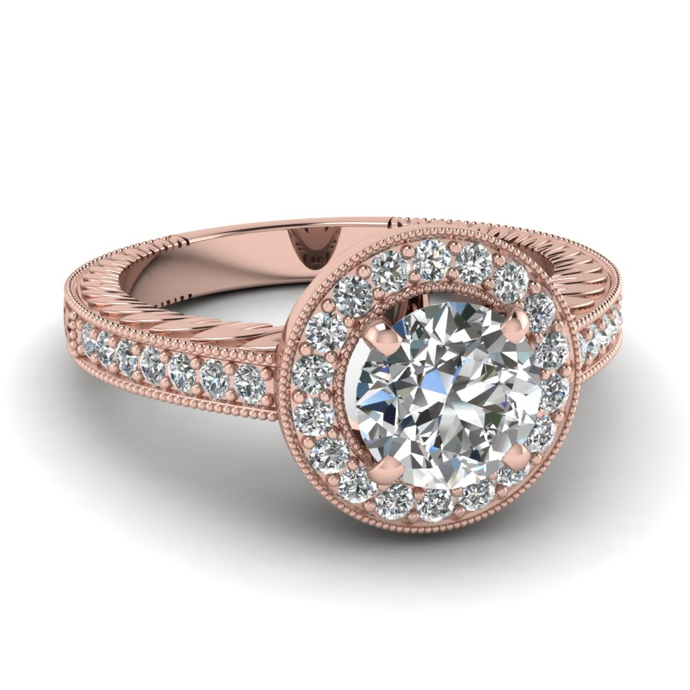 Rose Gold Ring: Rose Gold Ring Diamond Halo Rings