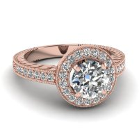 Rose Gold Ring: Rose Gold Ring Diamond Halo Rings