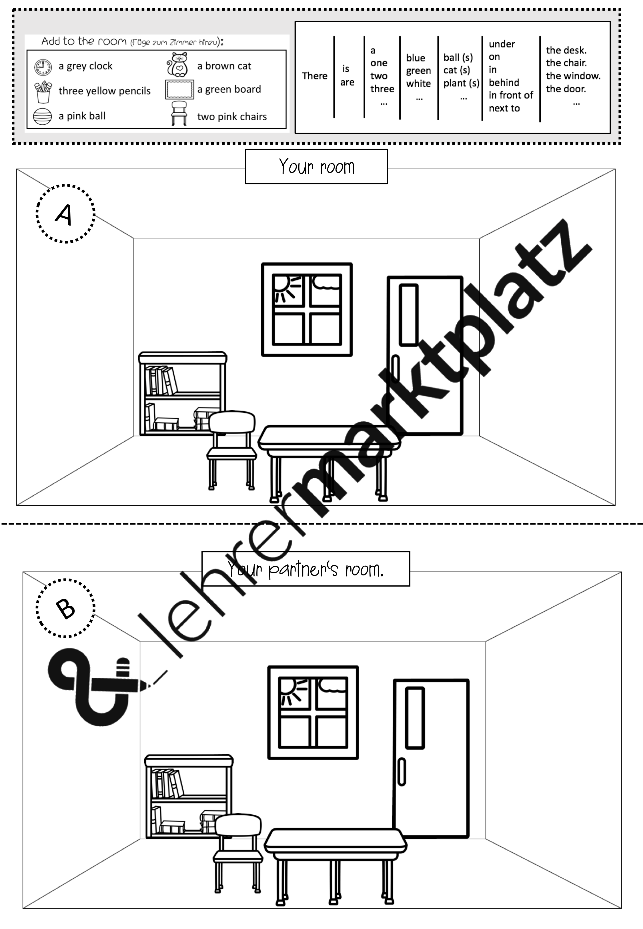 There Is There Are Merkblatt Worksheet Picture For Whiteboards Reading Speaking Practice
