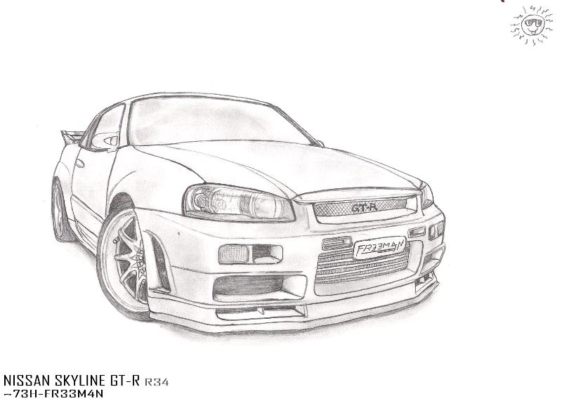 Free coloring pages of nissan nissan gtr