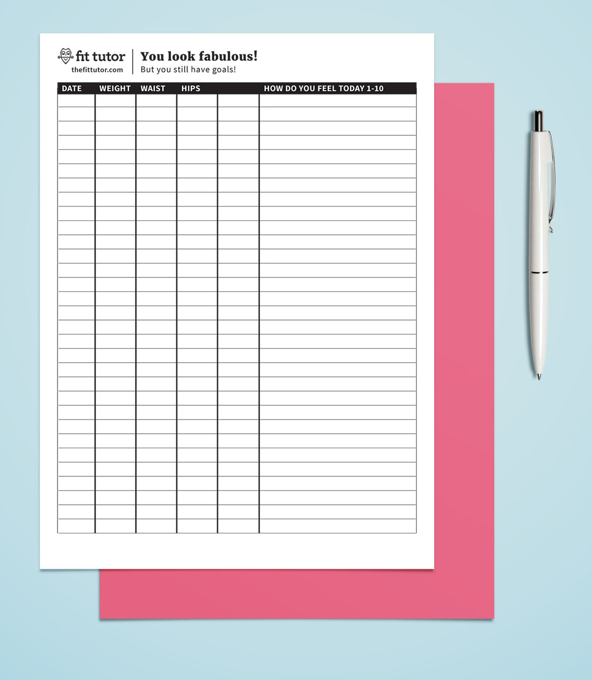 Worksheet For Weight Loss