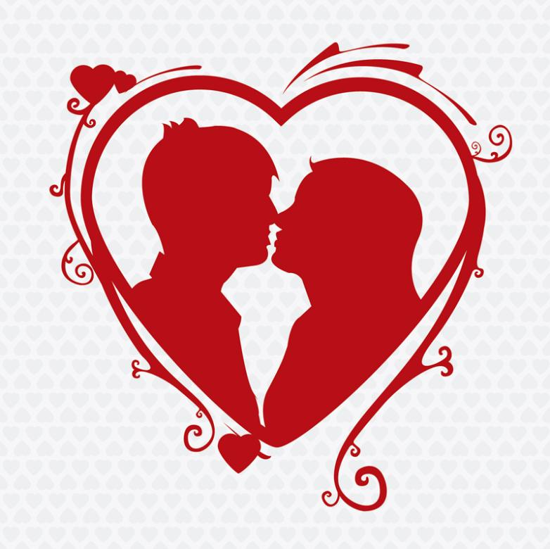 Red Love Kissing Couples Silhouette Vector   Free Vector ...