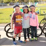 Students eager to ride bikes.