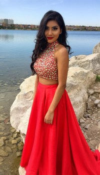 Red Prom Dresses,Two Piece Prom Dresses,Satin Prom Dresses ...
