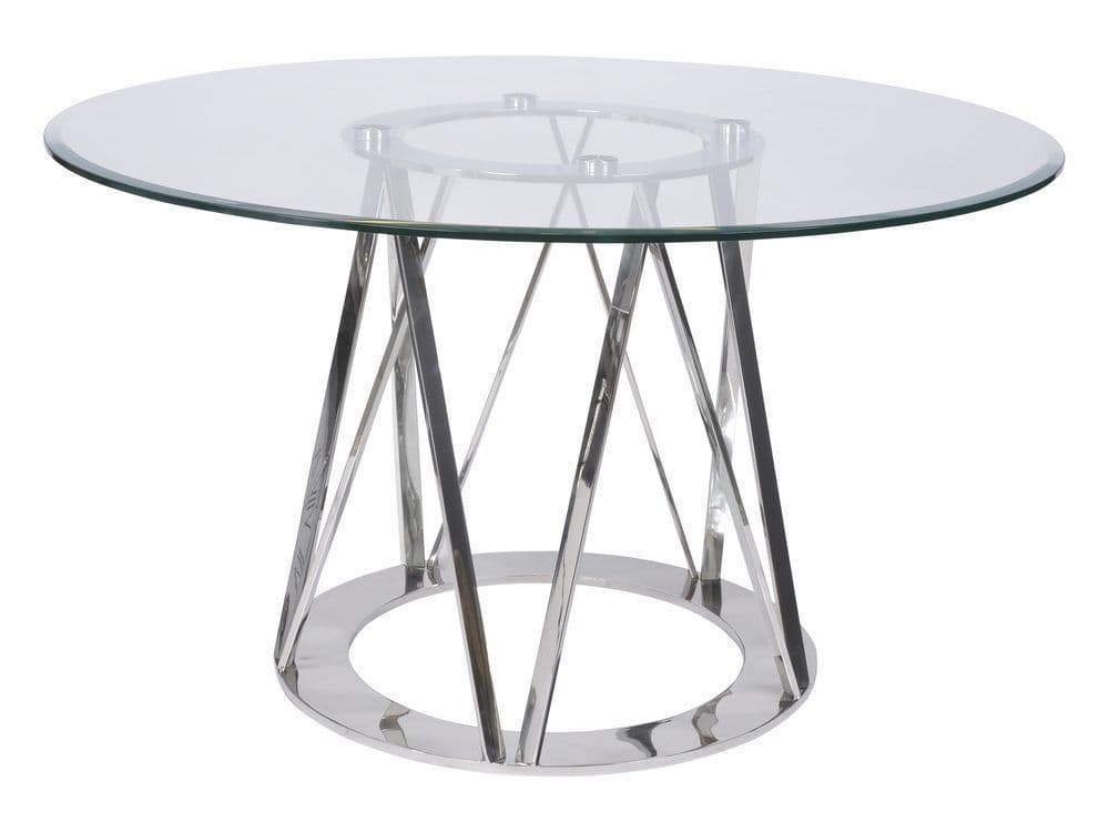 modern round glass dining table stainless steel and glass dining table libra linton