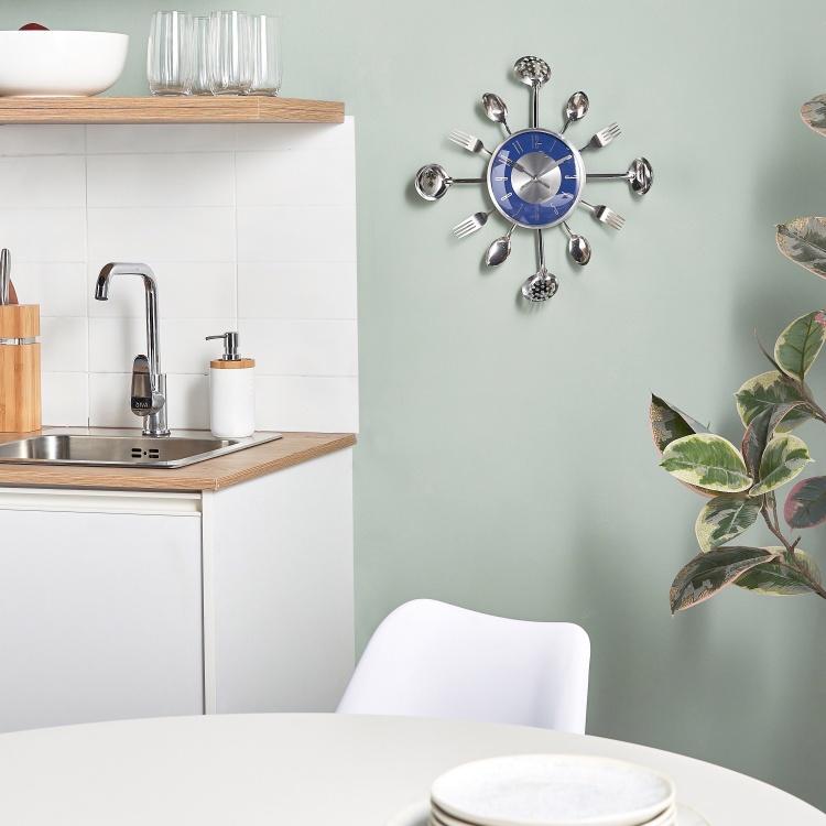 Gino Kitchen Wall Clock 43 Cm Blue Metal