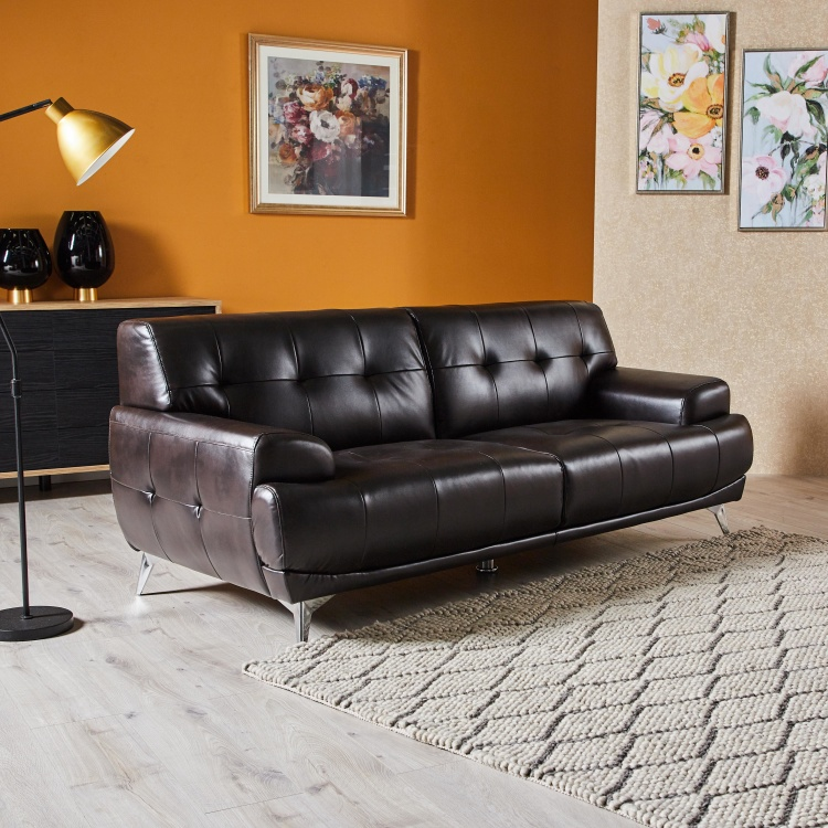 spencer 3 seater faux leather sofa