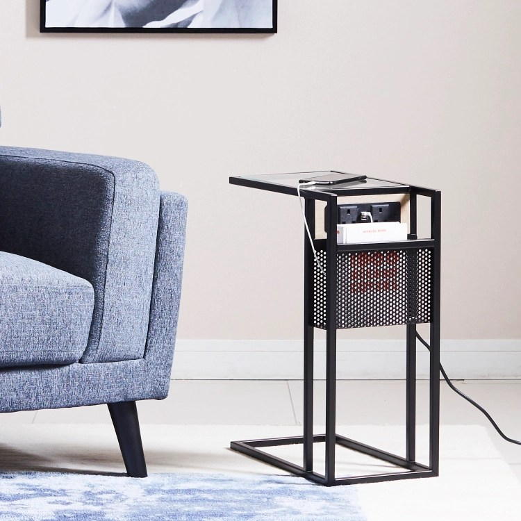 nate side table with usb and magazine rack