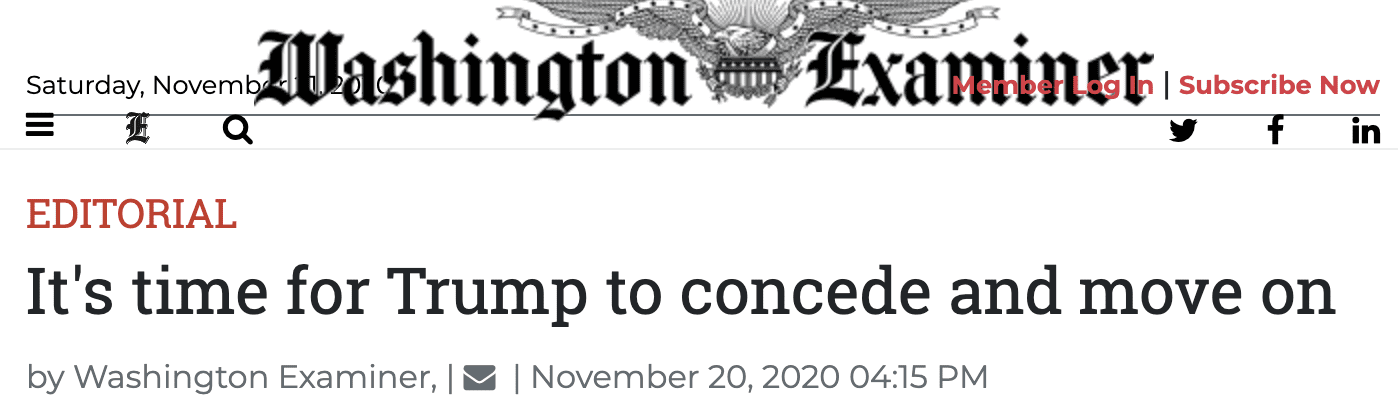 """The Washington Examiner calls for Trump """"to concede and move on"""""""