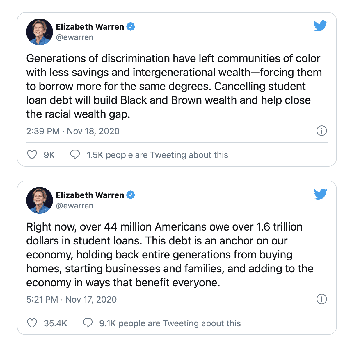"""Warren joins groups calling for Biden to """"cancel"""" student debt day one of office"""