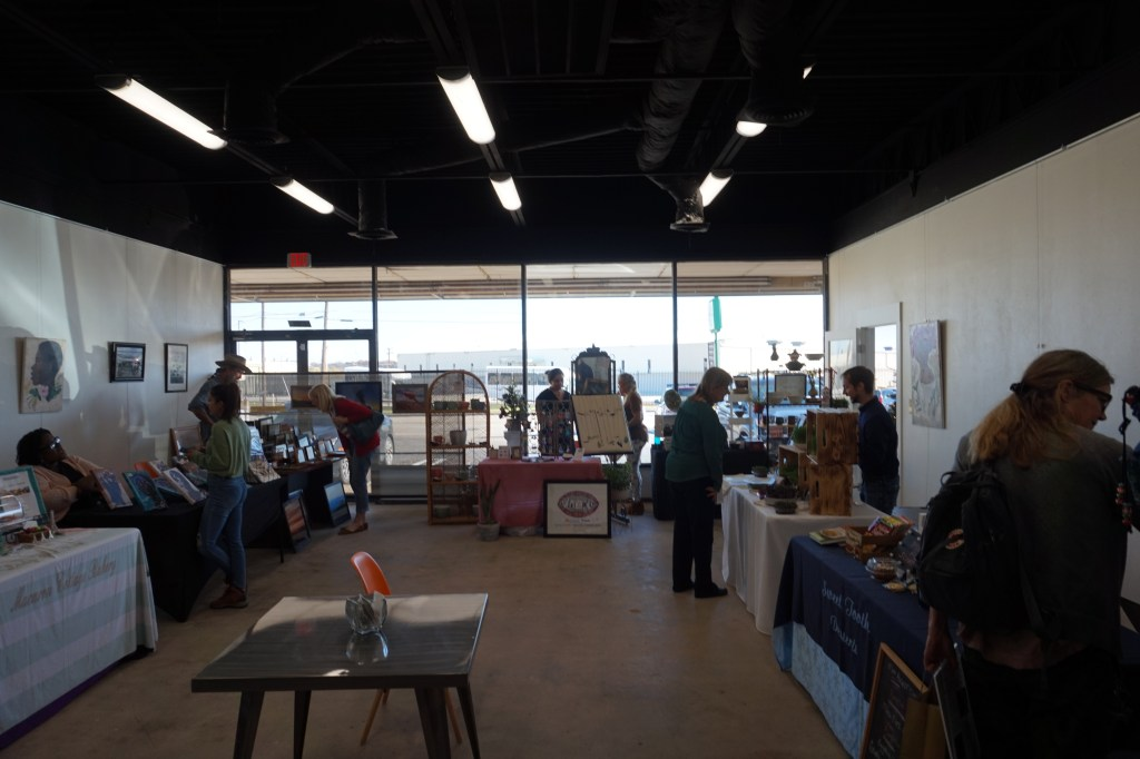 Small business Saturday at the makers markets at the 76107 collective, a local coworking and artists-maker space in Fort Worth, Texas, with local student-artist Turner Black.