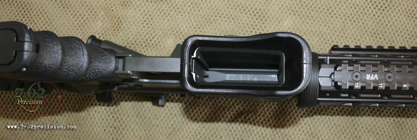 Correct fit of MWG on Roggio Arsenal receiver. Receivers like this with a wider bevel inside the bottom of the magazine compliment the MWG's function as a magwell funnel.