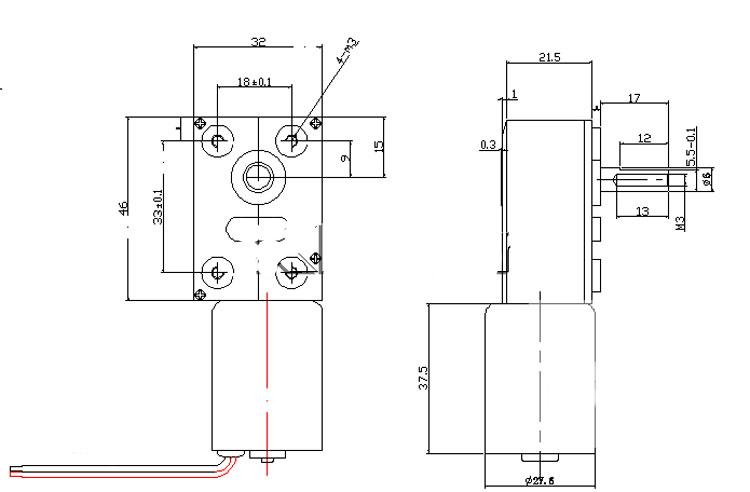 XPJGY-2838 3-214rpm 12-24V Gear Motor Reverse DC Brushless