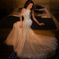 Mermaid Long Prom Dresses,Champagne Prom Gowns,Beading ...